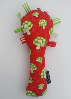 Baby Rattle - Red/Green Toadstools