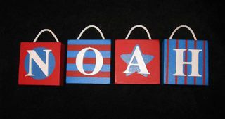 Personalised Canvas 'Noah' Blue/Red with cord