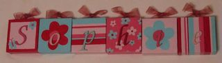 Personalised Canvas 'Sophie' Red/Pink/Aqua with ribbons