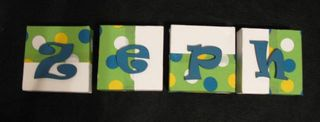 Personalised Canvas 'Zeph' Green/Blue/Yellow spots fabric