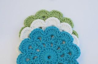Coasters Lime/Turquoise/White