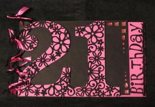 21st Birthday Guest Book Pink/Black Lace