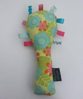 Baby Rattle - Green/Teal Flowers