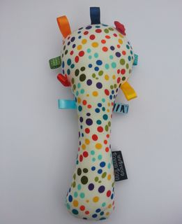 Baby Rattle - Multicoloured Spots & Stripes