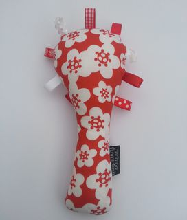 Baby Rattle - Red/White Flowers