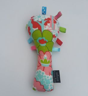 Baby Rattle - Green/Pink/Aqua Flowers