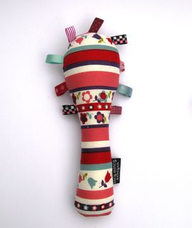 Baby Rattle - Red/Rose/Sage Flowers