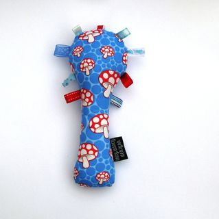 Baby Rattle - Blue/Red Toadstools