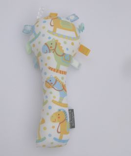 Baby Rattle - Lemon/Blue Rocking Horses