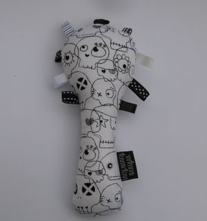 Baby Rattle - Black/White Sugar Skulls