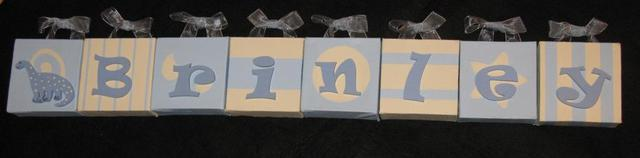 Personalised Canvas 'Brinley' Blue/Cream with ribbons