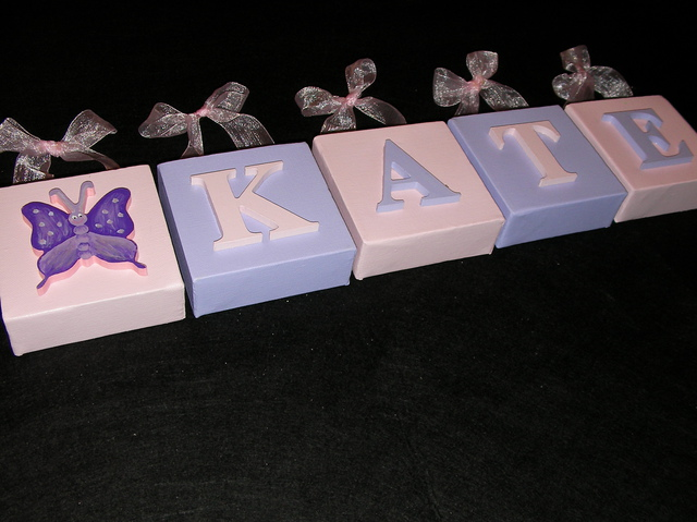 Personalised Canvas 'Kate' Pink/Mauve Butterfly with ribbons
