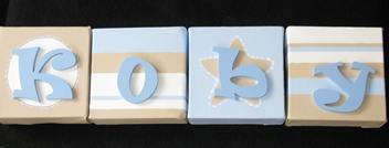 Personalised Canvas 'Koby' Blue/Cream/Beige