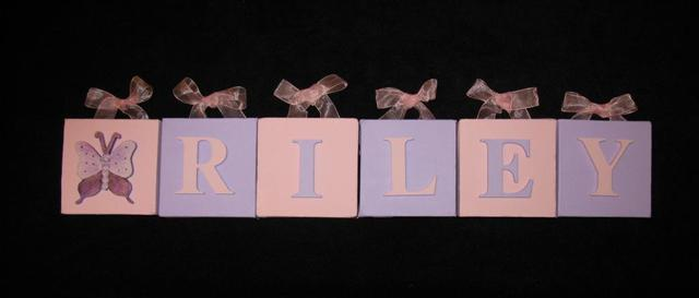 Personalised Canvas 'Riley' Pink/Mauve Butterfly with ribbons