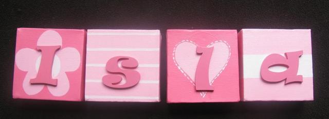 Personalised Canvas 'Isla' Two-Tone Pink