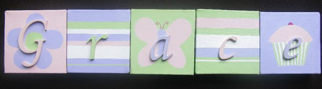 Personalised Canvas 'Grace' Lilac/Pink/Green