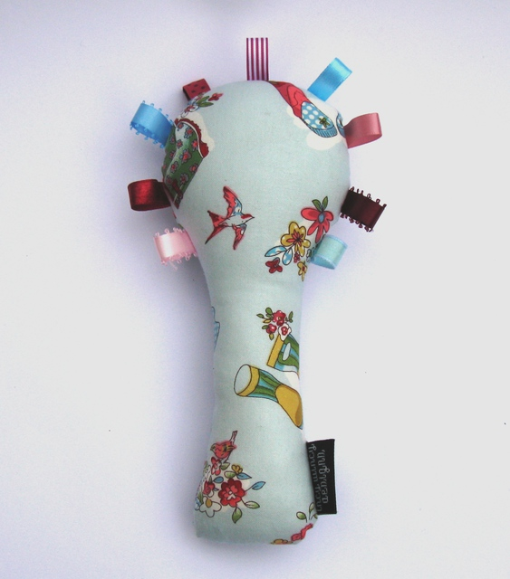Baby Rattle - Blue Gumboots/Flowers